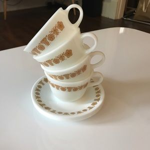 Milk Glass Butterfly Gold Cups and Saucers